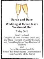 Sarah and Dave photo