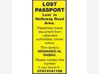 LOST PASSPORT photo