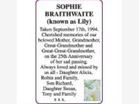 SOPHIE (known as Lily) BRAITHWAITE photo