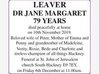 LEAVER Dr Jane Margaret photo