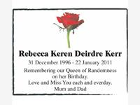 Rebecca Keren Deirdre Kerr photo