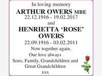 ARTHUR OWERS and HENRIETTA 'ROSE' OWERS photo