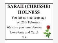 SARAH (CHRISSIE) HOLNESS photo