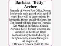 "Barbara ""Betty"" Archer photo"
