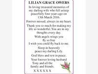 LILIAN GRACE OWERS photo