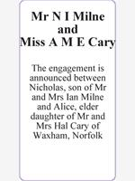 Mr N I Milne and                     Miss A M E Cary photo