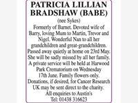 Patricia Lilian Bradshaw (Babe) photo