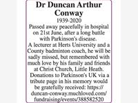 Dr Duncan Arthur Conway photo