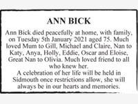 ANN BICK photo