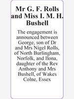 Mr G. F. Rolls and Miss I. M. H. Bushell photo