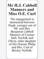 Mr H.J. Cabbell Manners and Miss O.E. Curl photo