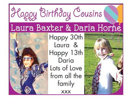 Happy Birthday Cousins Laura Baxter & Daria Horne Happy 30th Laura & Happy ...