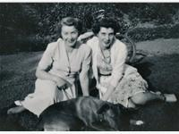 Lily and Joan with Pommey, 1951