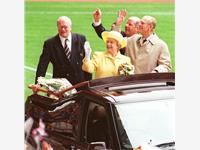 With the Queen, The Duke of Edinburgh & Jim Smith at Pride Park