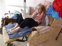 Hazel in her flat in Falmouth