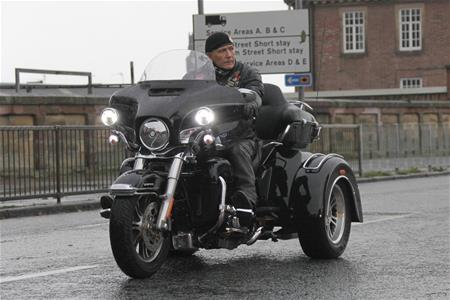 On his trike at remembrance sunday