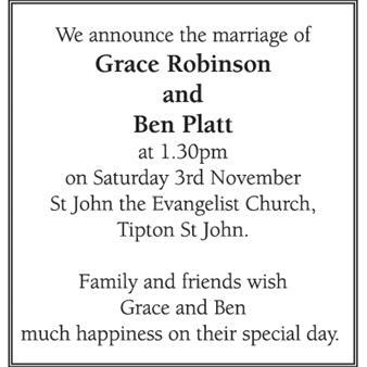 GRACE ROBINSON and BEN PLATT
