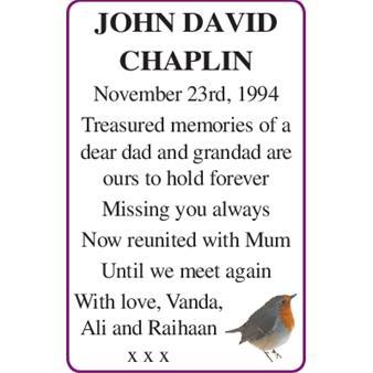 JOHN DAVID CHAPLIN