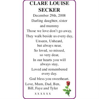 CLARE LOUISE SECKER
