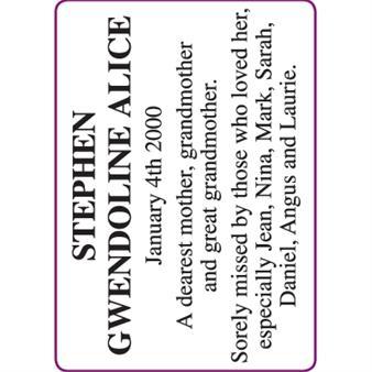 GWENDOLINE ALICE STEPHEN