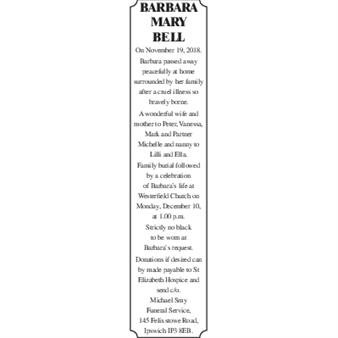 BARBARA MARY BELL