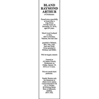 RAYMOND ARTHUR BLAND