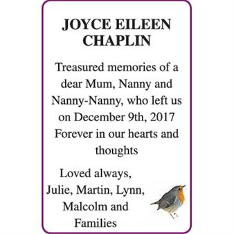 JOYCE EILEEN CHAPLIN