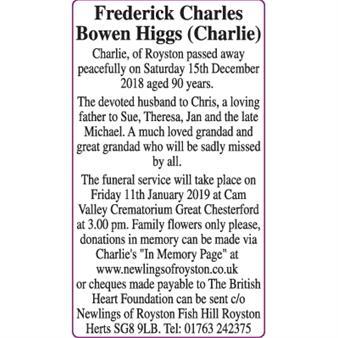 FREDERICK CHARLES BOWEN HIGGS (CHARLIE)