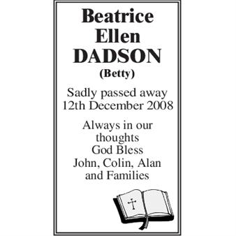 Beatrice Ellen DADSON (Betty)