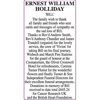 ERNEST WILLIAM HOLLIDAY 'BILL'