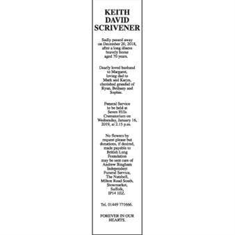 KEITH DAVID SCRIVENER