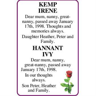 KEMP IRENE & HANNANT IVY