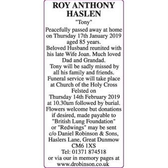 ROY ANTHONY HASLEN  'TONY'