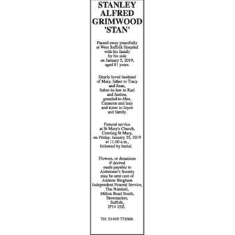 STANLEY ALFRED GRIMWOOD 'STAN'