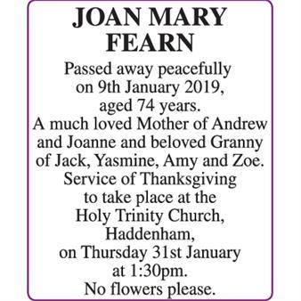 JOAN MARY FEARN