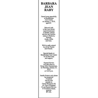 BARBARA JEAN RABY