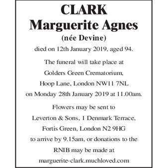 CLARK Marguerite Agnes