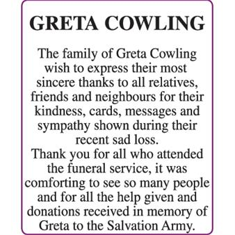 GRETA COWLING