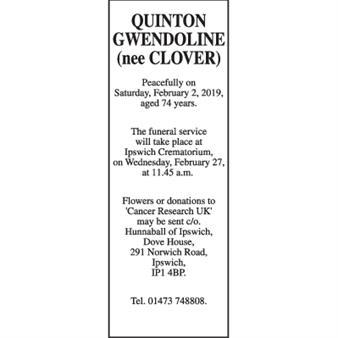 GWENDOLINE QUINTON (nee CLOVER)