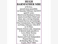 HUGH BARNFATHER MBE
