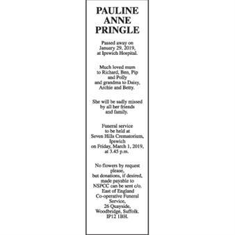 PAULINE ANNE PRINGLE