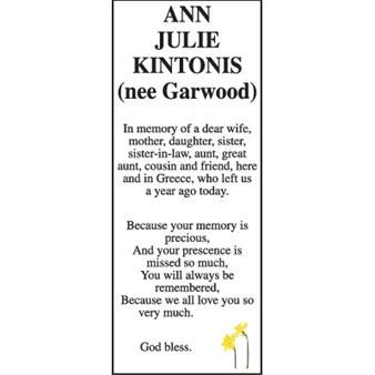 Anne Julie Kintonis (nee Garwood)