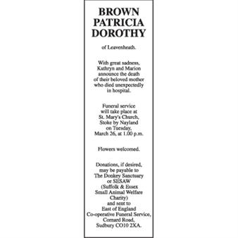 PATRICIA DOROTHY BROWN