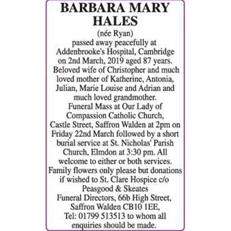 BARBARA MARY HALES
