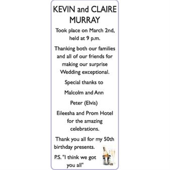 KEVIN and CLAIRE MURRAY