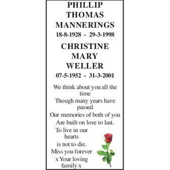 Phillip Thomas Mannerings Christine Mary Weller