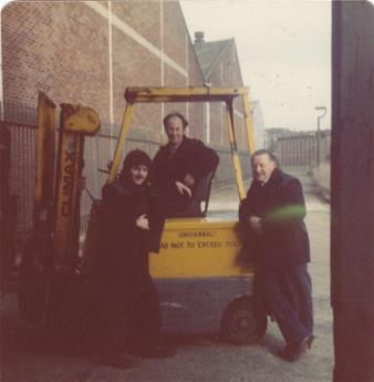 Mick Goodall on forklift @ Cliff Quay Power Station 1981
