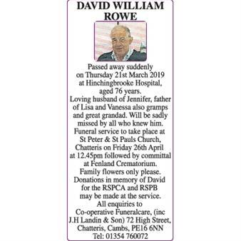 DAVID WILLIAM ROWE