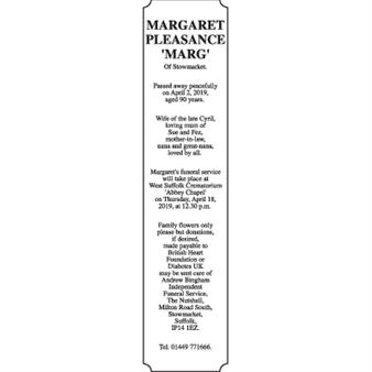 MARGARET PLEASANCE 'MARG'