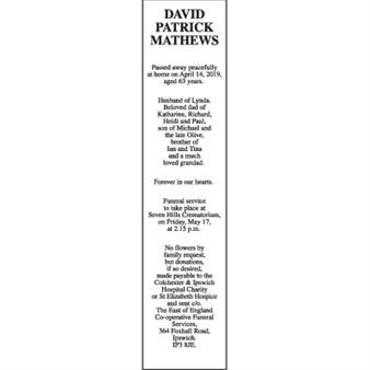 DAVID PATRICK MATHEWS